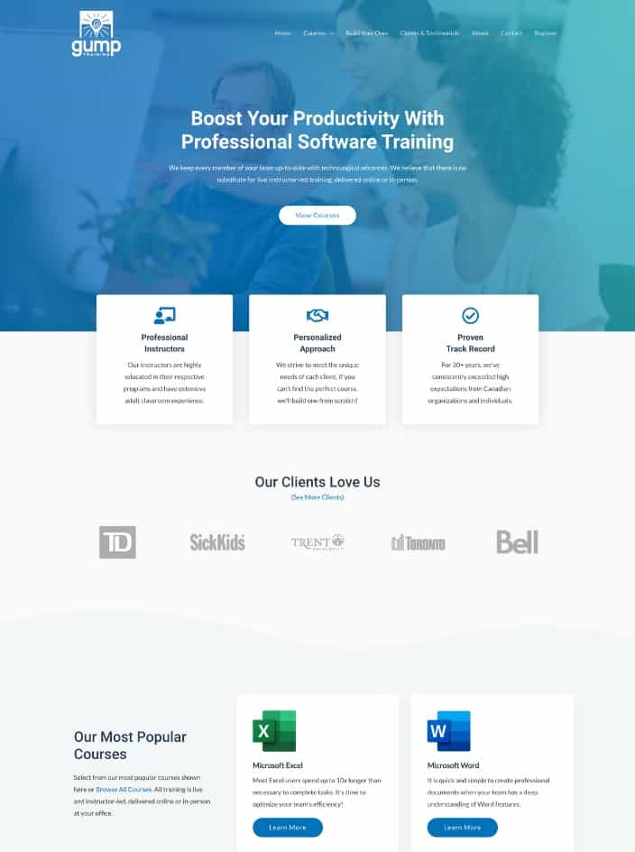 Web design project for a software training company in Toronto, Ontario