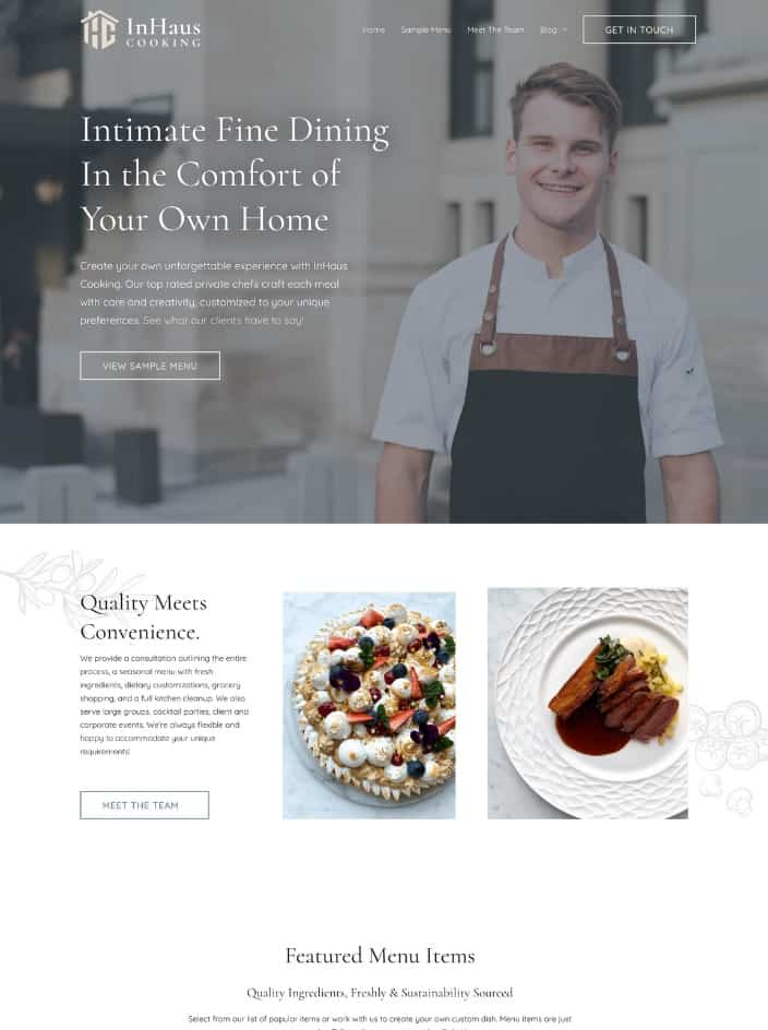 Web design project for a personal chef in Ottawa, Ontario