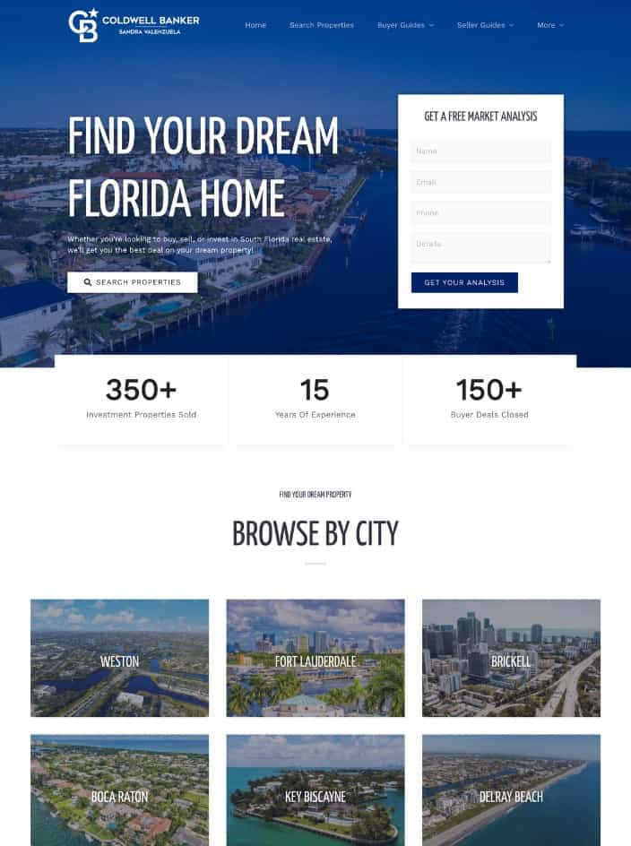 Web design project for a real estate agent in Fort Lauderdale, Florida