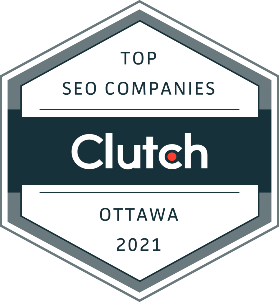 Award from Clutch for being one of the top SEO companies in Ottawa in 2021
