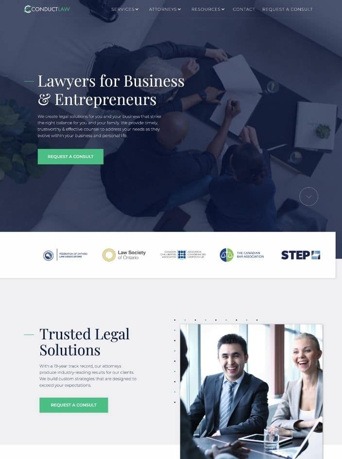 Web design project for a law firm in Ottawa, Ontario